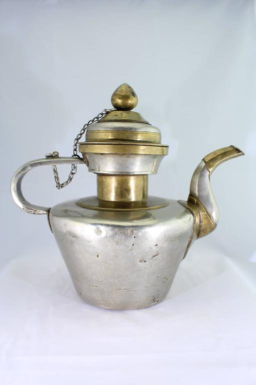 Hammered 19th Century Tibetan Metallic Silver and Brass Prayer Teapot