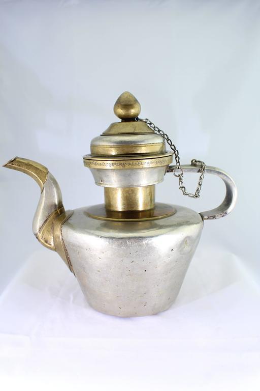 19th Century Tibetan Metallic Silver and Brass Prayer Teapot 2