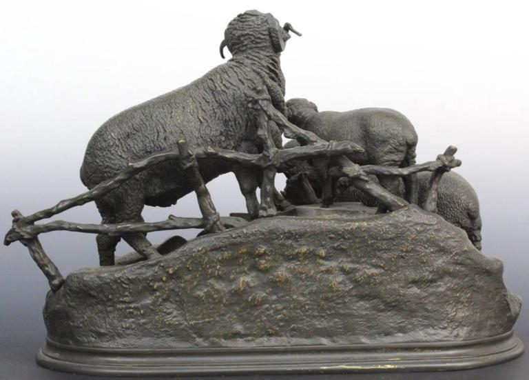 Beaux Arts 19th Century Jules Moigniez French Bronze Grouping of Ram or Sheep Family