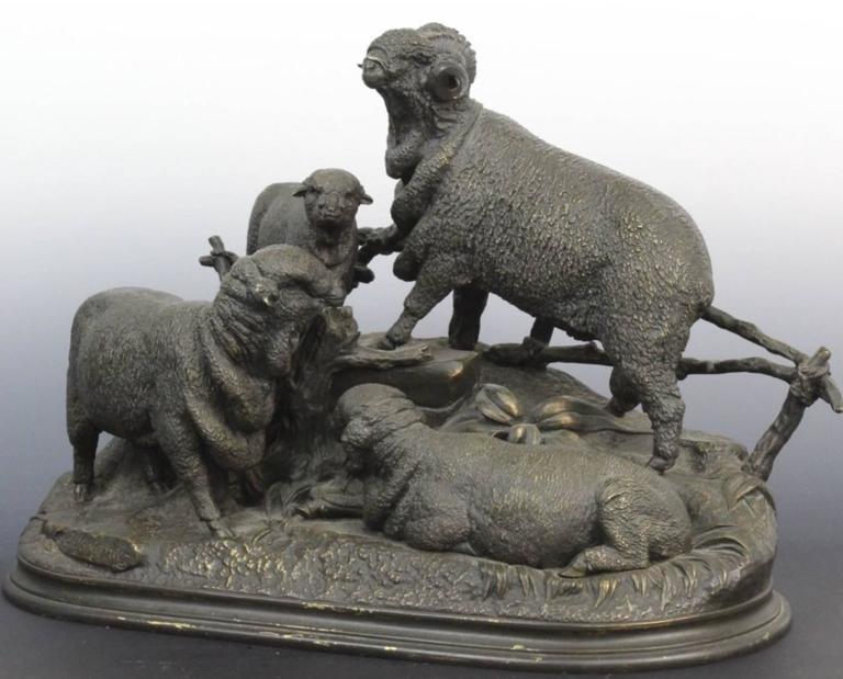 19th Century Jules Moigniez French Bronze Grouping of Ram or Sheep Family In Good Condition In Dallas, TX