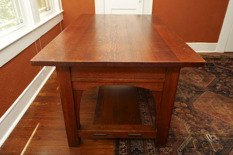 Mission Arts and Crafts large three drawer Library Desk Table. Stamped Limbert's Arts and Crafts Grand Rapids ad Holland. Gustave Stickley era and quality.