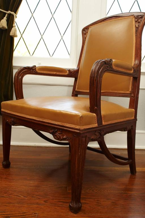 Hand-Carved French Art Nouveau Important Desk Armchair, circa 1900