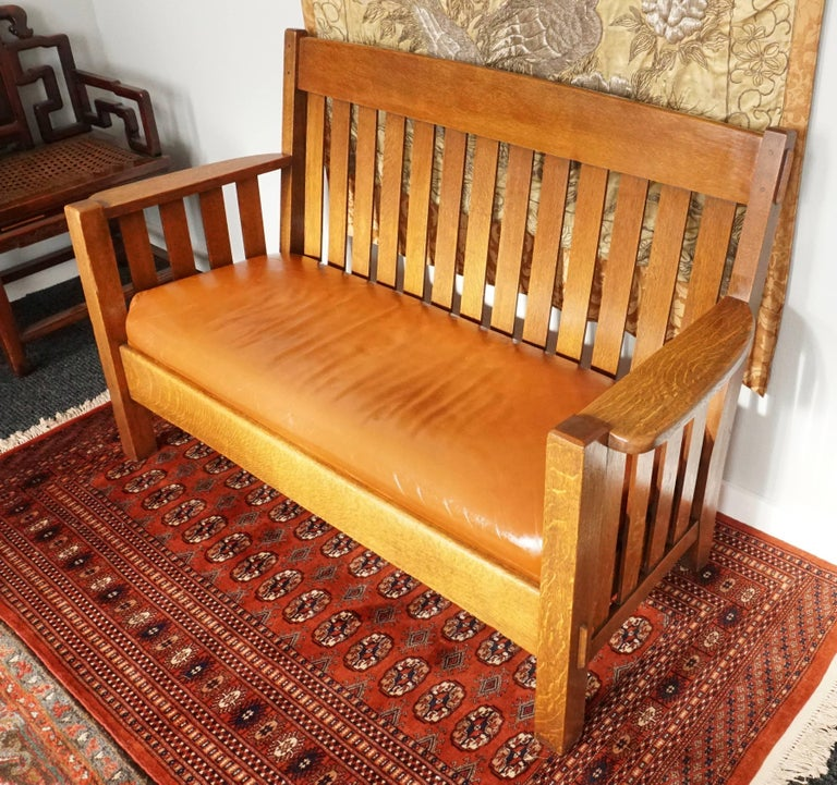 Mission Settee Harden Furniture Co., Circa 1907 For Sale