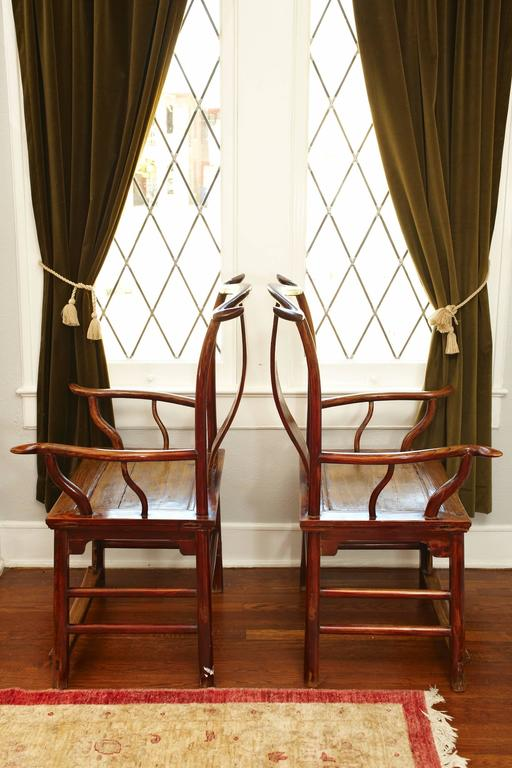 Ming Pair of Elmwood 'Official's Hat' Yoke Back Armchairs, Guanmaoyi