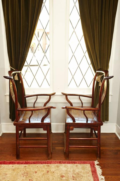 Chinese Pair of Elmwood 'Official's Hat' Yoke Back Armchairs, Guanmaoyi