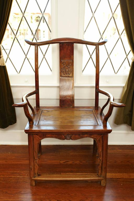 Pair of Elmwood 'Official's Hat' Yoke Back Armchairs, Guanmaoyi In Good Condition In Dallas, TX