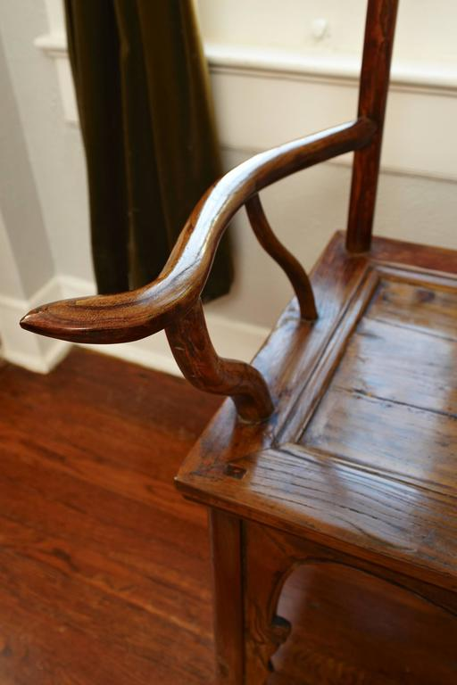 19th Century Pair of Elmwood 'Official's Hat' Yoke Back Armchairs, Guanmaoyi