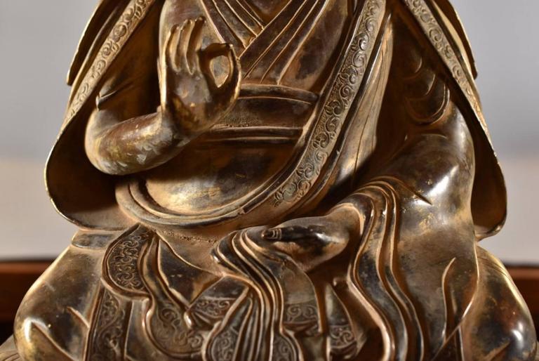 18th Century and Earlier 18th Century Sino-Tibetan Bronze Figure of Tsongkhapa Buddha
