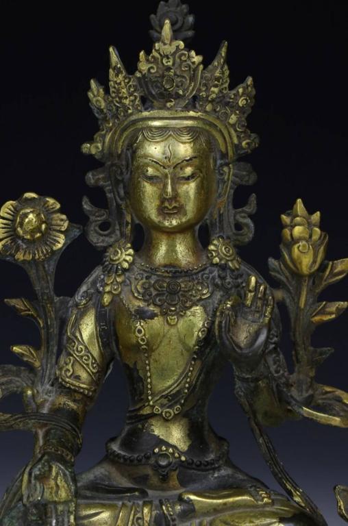 Chinese Export Sino Tibetan Gilt Bronze Buddha or Tara, 19th Century