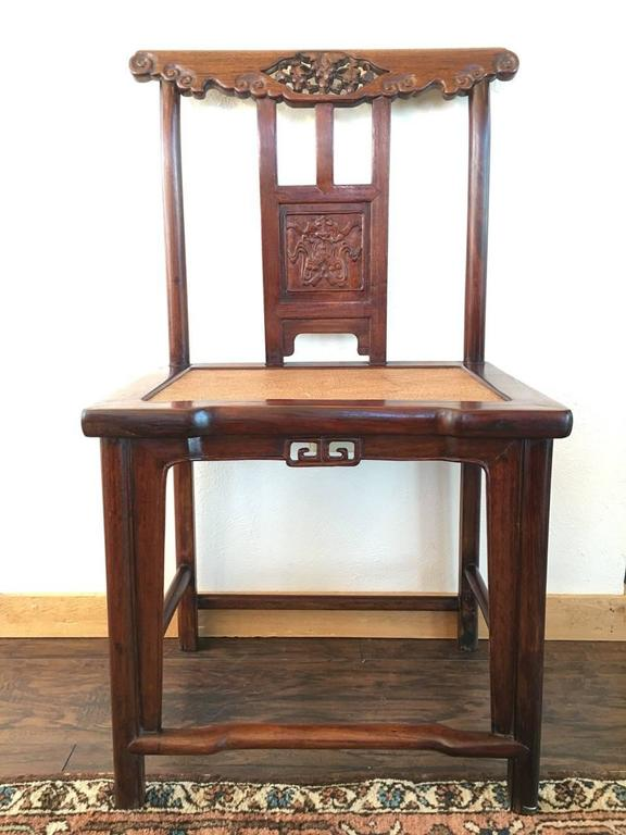 Chinese Export 19th Century Chinese Rose Wood Pair of Sidechairs Qing Dynasty For Sale