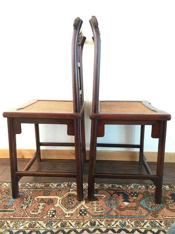 19th Century Chinese Rose Wood Pair of Sidechairs Qing Dynasty In Good Condition For Sale In Dallas, TX