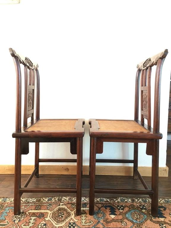 Rosewood 19th Century Chinese Rose Wood Pair of Sidechairs Qing Dynasty For Sale