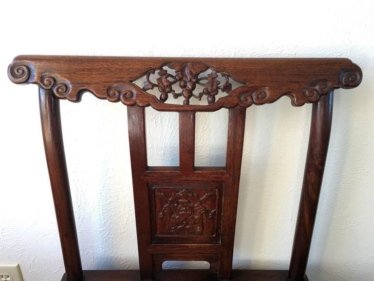 19th Century Chinese Rose Wood Pair of Sidechairs Qing Dynasty For Sale 1