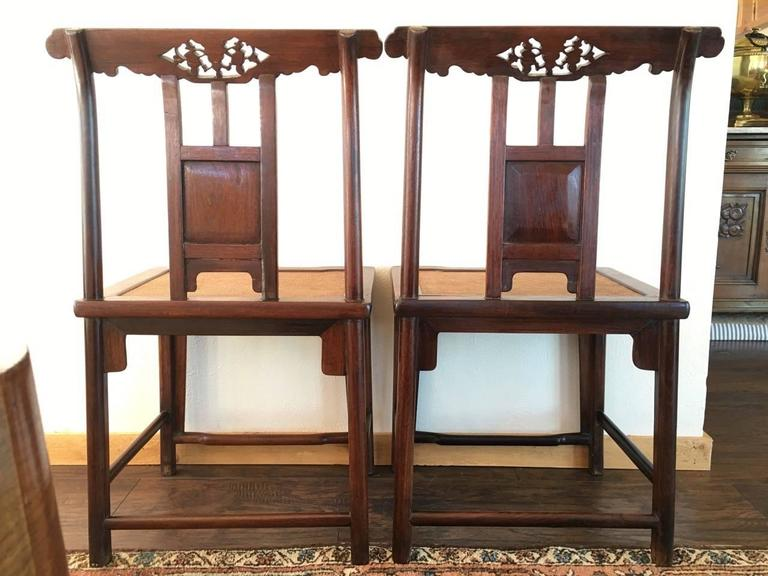 19th Century Chinese Rose Wood Pair of Sidechairs Qing Dynasty For Sale 3