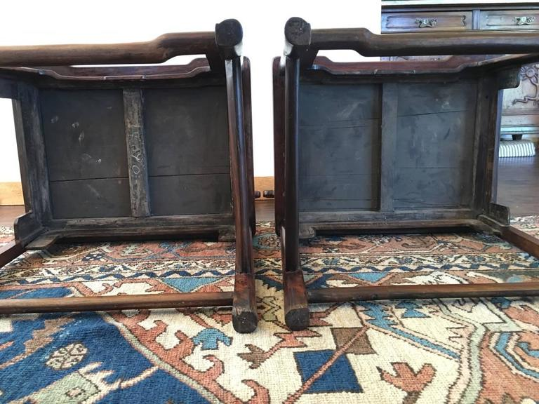 19th Century Chinese Rose Wood Pair of Sidechairs Qing Dynasty For Sale 4