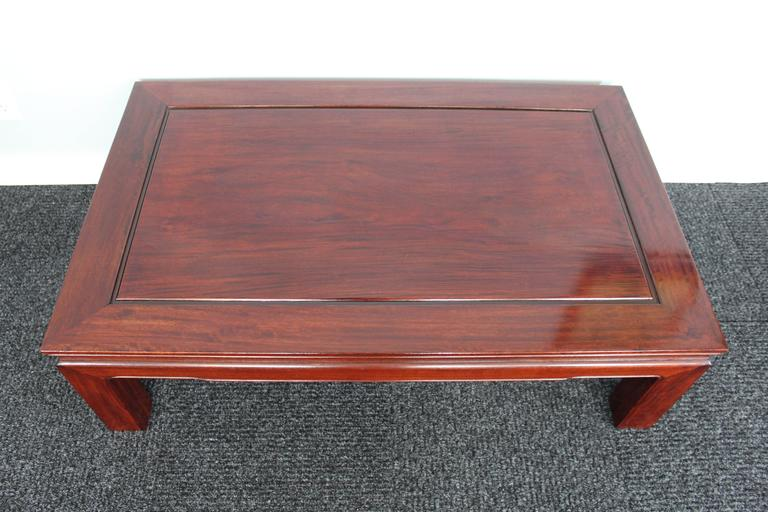Beautiful solid Chinese rosewood coffee table.   From the Richard (Dick) Bass Estate.(Dallas, TX).