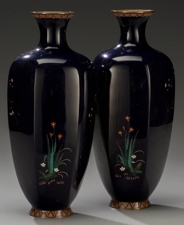Pair Of Meiji Japanese Cloisonne Vases By Hayashi Chuzo Circa 1900