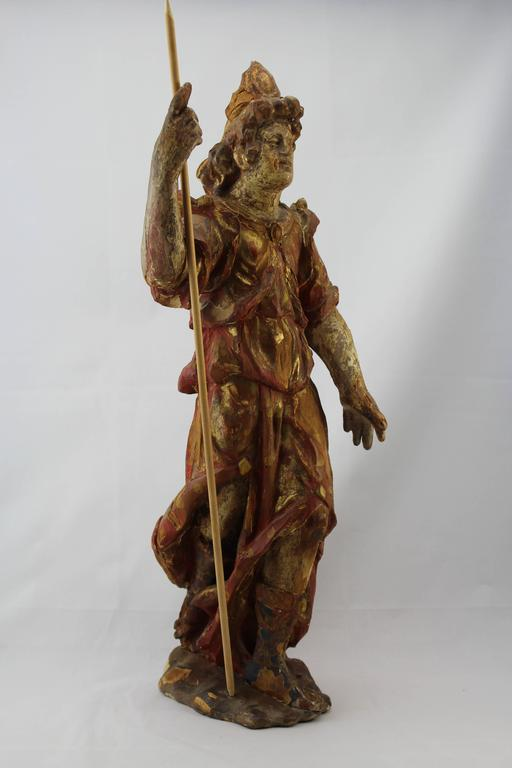17th-18th century French carved wood and polychromed Santos. 