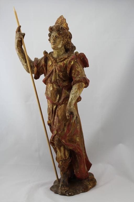 Baroque 17th-18th Century Carved Wood and Polychromed Painted Santos For Sale