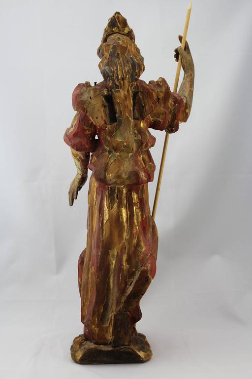 French 17th-18th Century Carved Wood and Polychromed Painted Santos For Sale