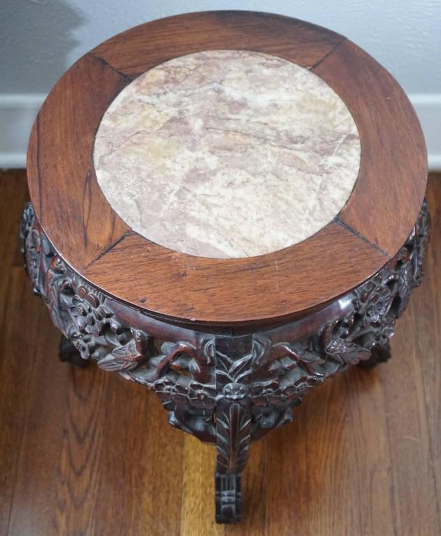 Hand-Carved 19th Century Chinese Rosewood and Marble Carved Stand, Qing Dynasty For Sale