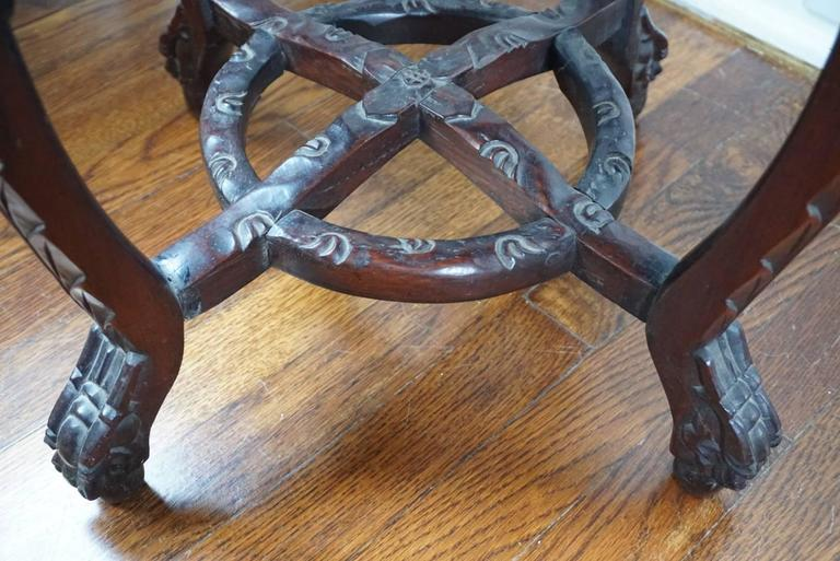 19th Century Chinese Rosewood and Marble Carved Stand, Qing Dynasty In Excellent Condition For Sale In Dallas, TX