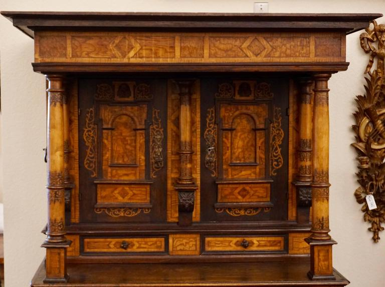 Aubusson 18th-19th Century Inlaid Alsatian Deux Corps Sideboard Armoire, Louis XIV For Sale