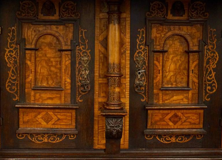 French 18th-19th Century Inlaid Alsatian Deux Corps Sideboard Armoire, Louis XIV For Sale