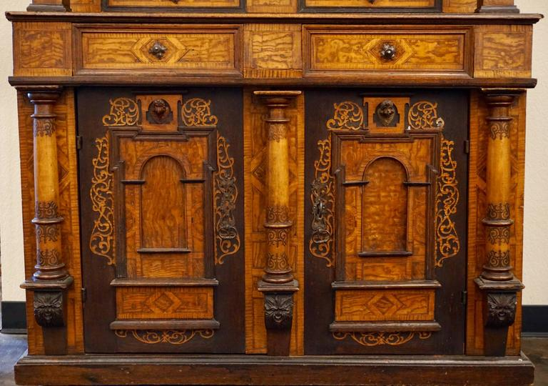 Hand-Crafted 18th-19th Century Inlaid Alsatian Deux Corps Sideboard Armoire, Louis XIV For Sale