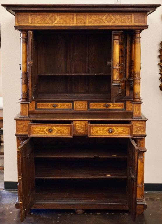 18th-19th Century Inlaid Alsatian Deux Corps Sideboard Armoire, Louis XIV In Good Condition For Sale In Dallas, TX