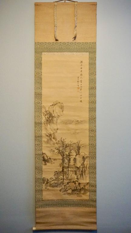 18th century chinese landscape ink on silk scroll painting for Garden design 18th century