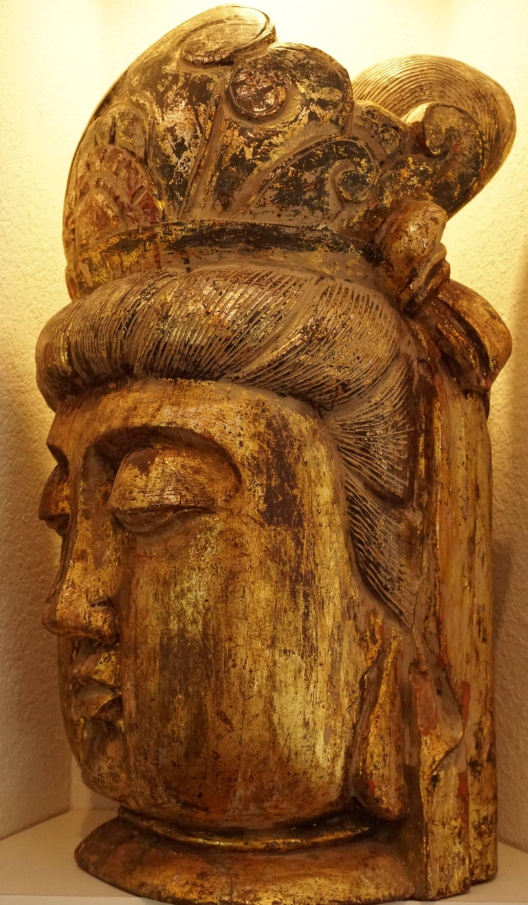 Chinese Export Large Gilt Buddha Head Wood Carved, 19th Century For Sale