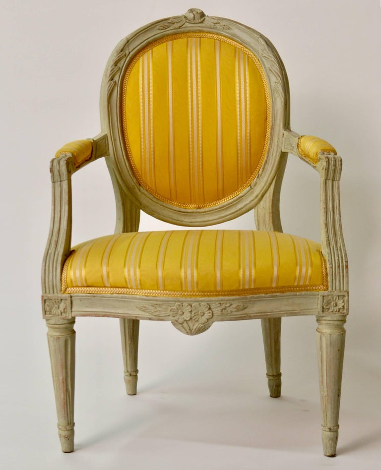 Pair of Gustavian period, circa 1780. Original painted seating.