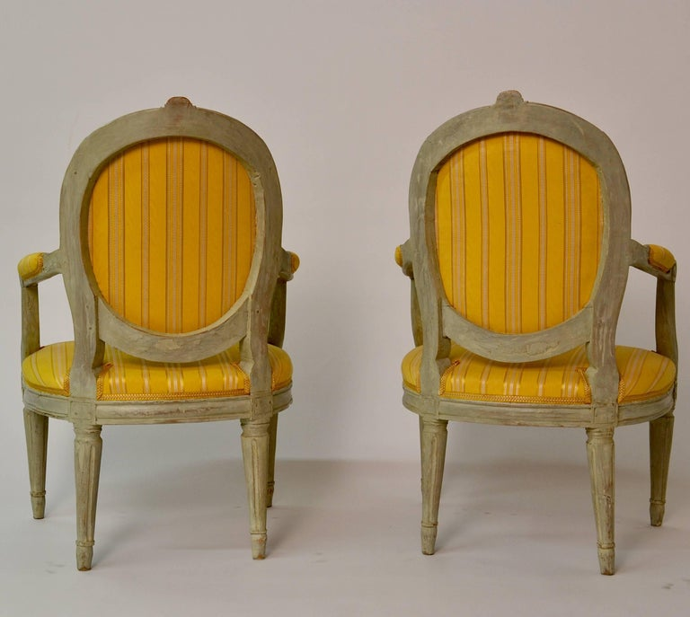 Swedish Pair of Gustavian Period Yellow Upholstered Armchairs, 18th Century For Sale