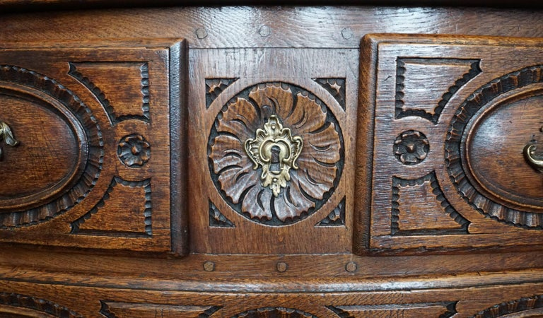 Louis XV French Provincial Oak 18th Century Commode Chest 5