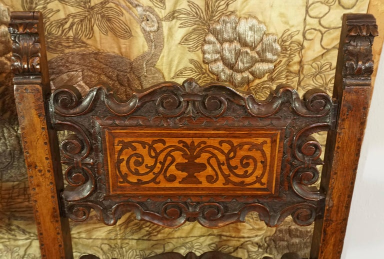 17th Century Pair of Lombardian Italian Swiss Carved Chairs For Sale 3
