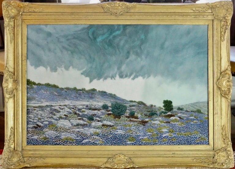 "Hand-Painted Daniel Kendrick Texas Bluebonnets ""Take Cover"" Oil Painting For Sale"