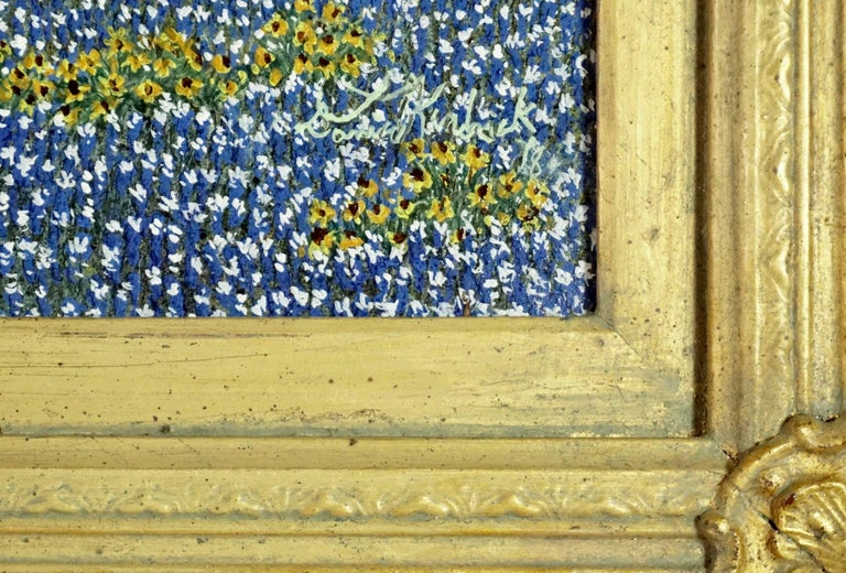 "Daniel Kendrick Texas Bluebonnets ""Take Cover"" Oil Painting In Excellent Condition For Sale In Dallas, TX"