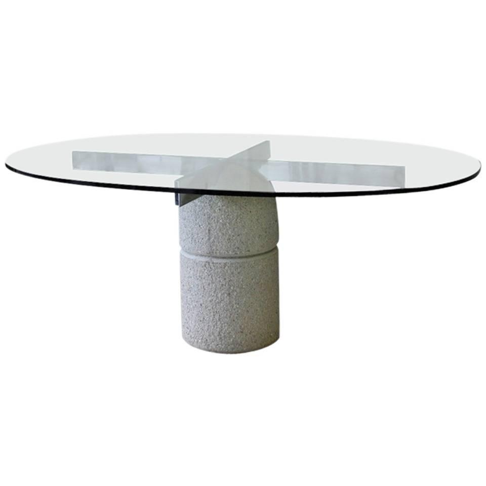 Vintage Giovanni Offredi Concrete Chrome Dining Table Bullet Base Game
