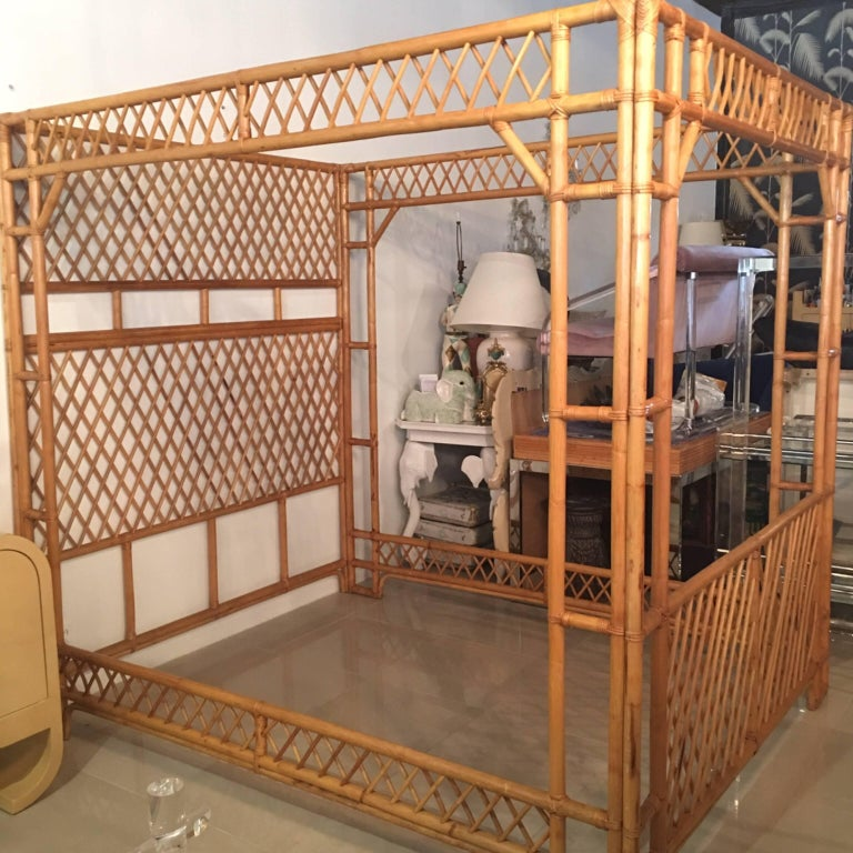 Rattan Bamboo Chinese Chippendale Queen Canopy Bed Headboard Palm Beach At 1stdibs