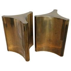 Pair of Mastercraft Brass Dining Table Desk Bases Pedestals Trilobi