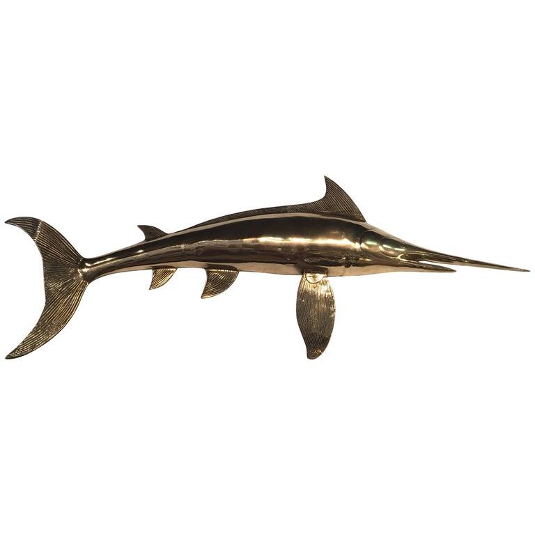 Brass Wall Art Blue Marlin Fish Mount Palm Beach Ocean For Sale