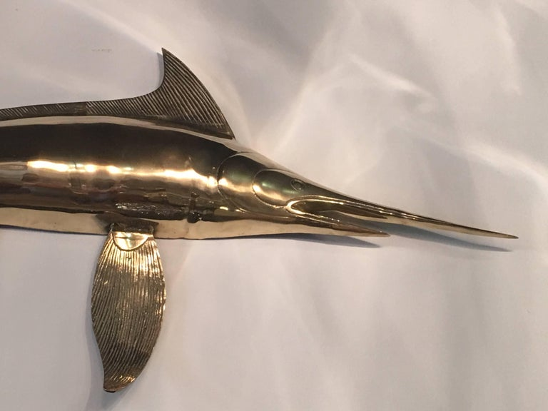 Amazing polished brass blue marlin fish wall mount. Ready to hang.