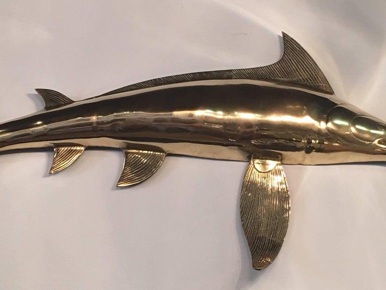 Hollywood Regency Brass Wall Art Blue Marlin Fish Mount Palm Beach Ocean For Sale