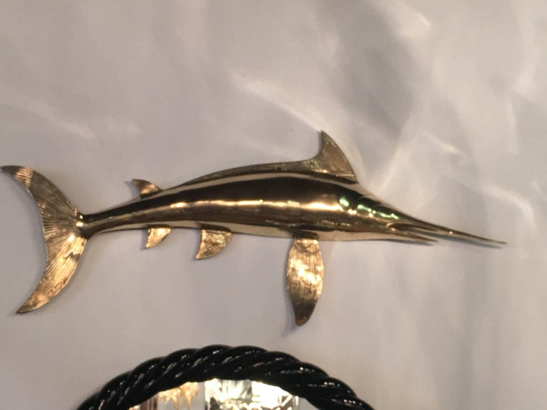 Brass Wall Art Blue Marlin Fish Mount Palm Beach Ocean In Excellent Condition For Sale In West Palm Beach, FL