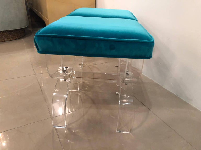 Vintage Pair of Lucite X-Benches Stools Blue Velvet Upholstery In Excellent Condition For Sale In West Palm Beach, FL