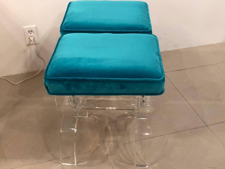 Vintage Pair of Lucite X-Benches Stools Blue Velvet Upholstery For Sale 1