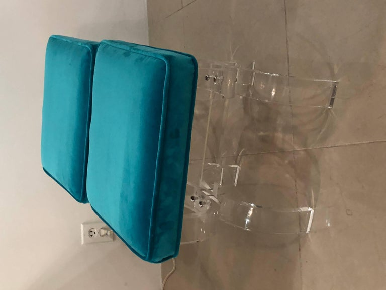 Vintage Pair of Lucite X-Benches Stools Blue Velvet Upholstery For Sale 2