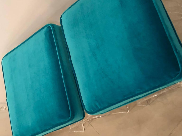 Late 20th Century Vintage Pair of Lucite X-Benches Stools Blue Velvet Upholstery For Sale