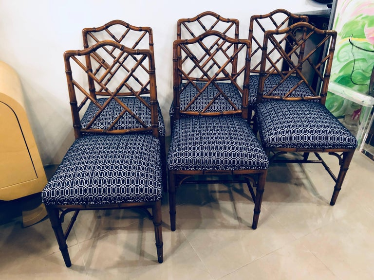 American Vintage Set of Six Faux Bamboo Chinese Chippendale Dining Chairs by Century For Sale
